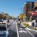 LAWRENCE AVENUE EAST OF WESTERN AVENUE WILL INCLUDE CURB EXTENSIONS WITH BIOSWALES AND PEDESTRIAN REFUGES. (COURTESY CDOT)