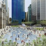 Rendering of Dilworth Plaza shows a glass subway entrance to the right of interactive fountains. (Courtesy Philadelphia Center City District)