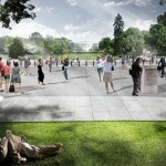 NEW PUBLIC SPACE THAT WAS ONCE A ROAD IS CREATED ON THE E STREET TERRACE. (COURTESY ROGERS MARVEL ARCHITECTS)