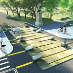 RENDERING OF PROPOSED INTERACTIVE STONE GATEWAY TO PROSPECT PARK. (COURTESY JORDAN YAMADA AND PETER ZAHARATOS)